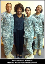 Wambui Bahati with Troops at Fort Detrick