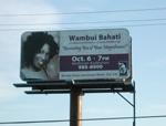 Wambui Bahati on Bill Board in Port Huron, MI