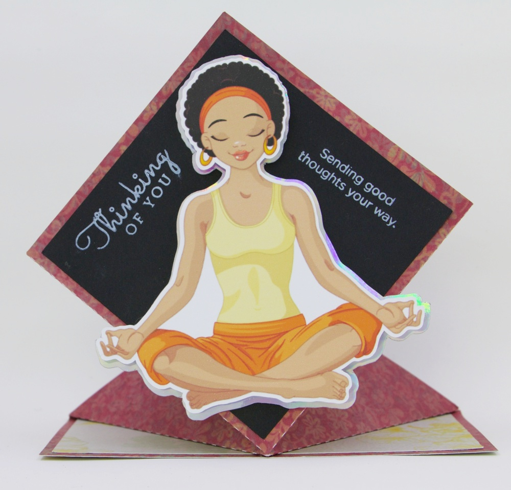 Wambui Made It: Meditation lady diamond pop up card.