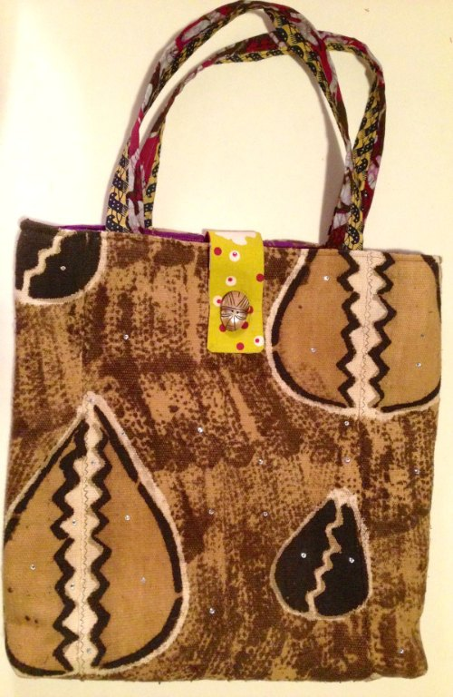 mud-cloth tote with purple lining 2
