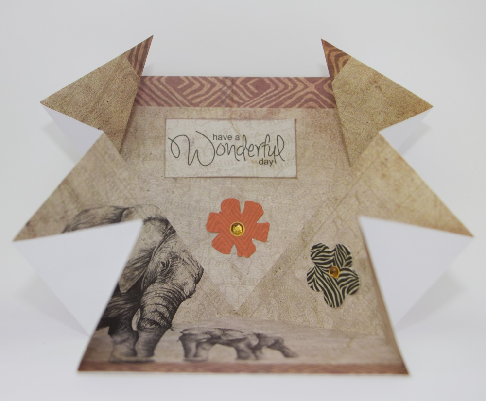 Wambui Made It: Safari Elephant Pop-out Birthday card - half open