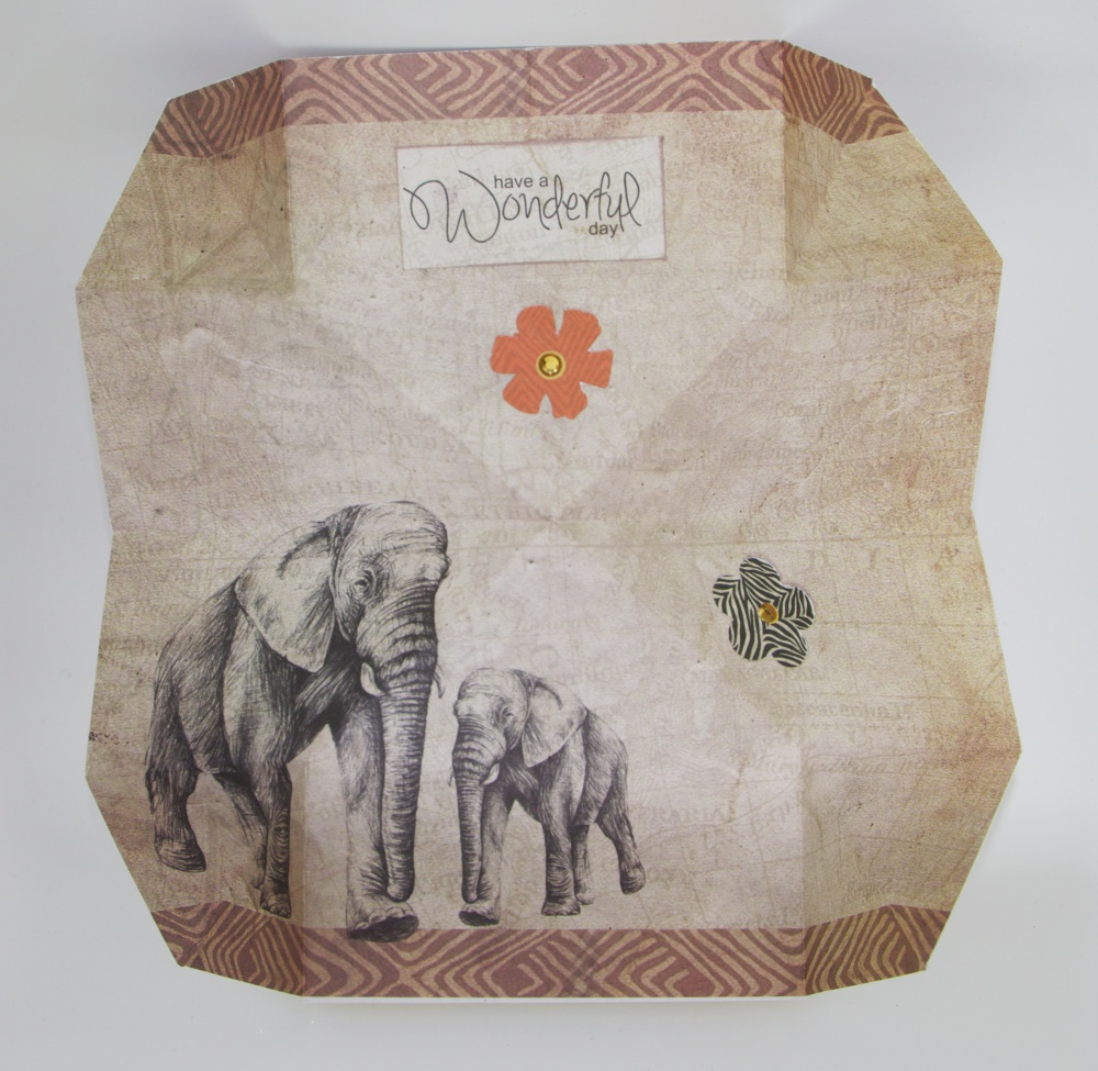 Wambui Made It: Safari Elephant Pop-out Birthday card - open